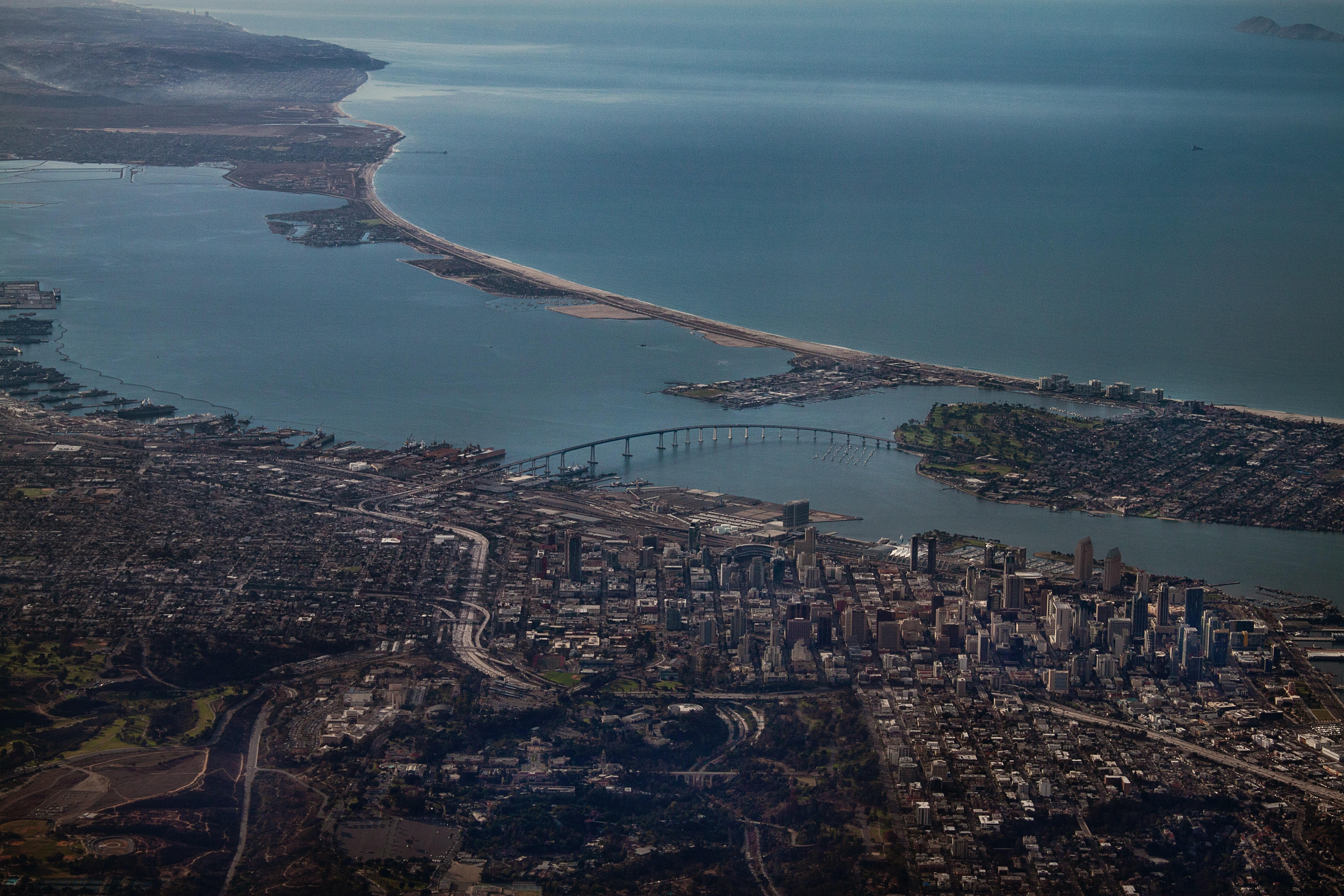 Aerial photography of downtown San Diego including the Coronado bridge