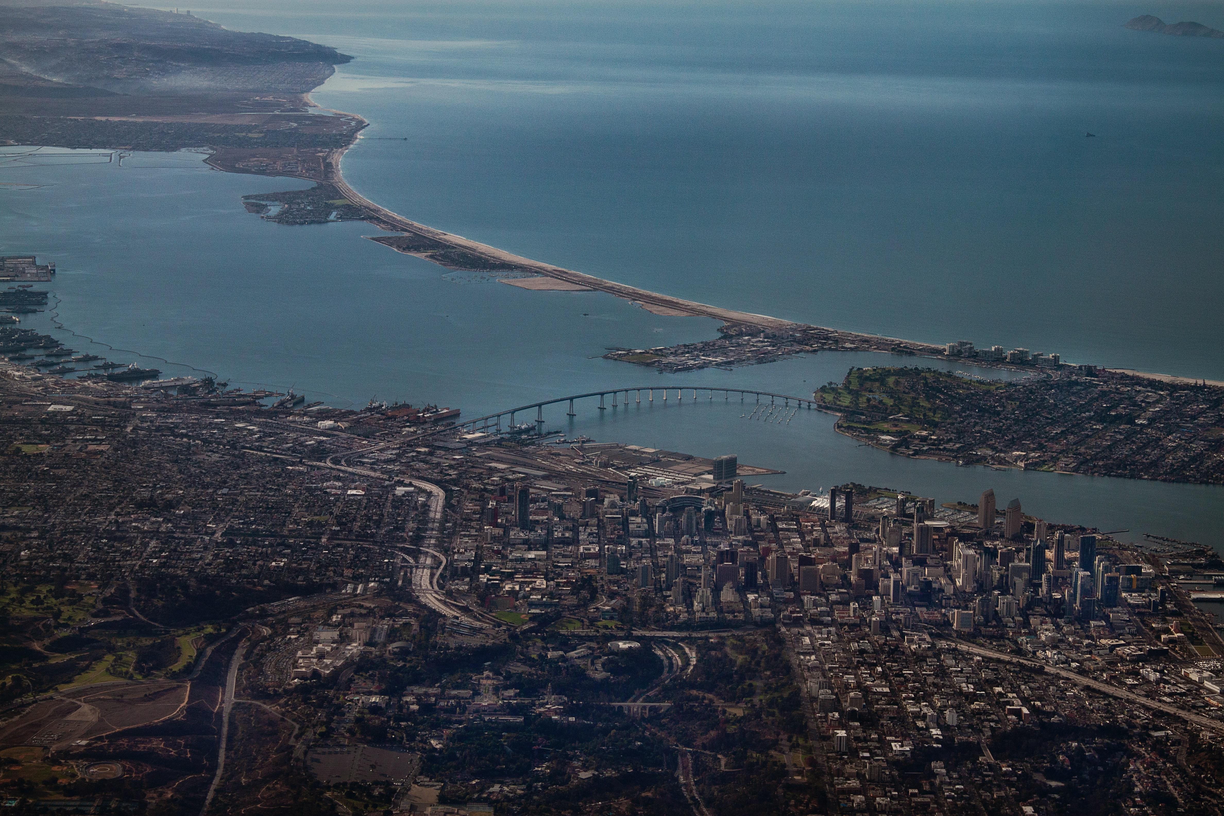 Aerial photography of downtown San Diego including the Coronado bridge